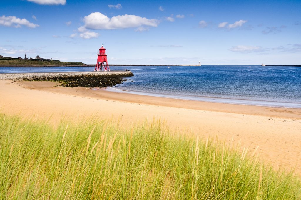SeaScapes coastline showing the beach at South Shields, North East England